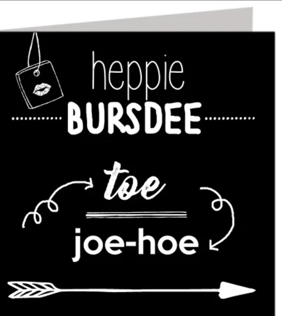 Felicitatiekaart Heppie Bursdee
