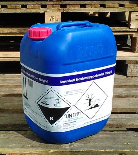 Breustedt Natriumhypochloriet 150g/l (zwembadchloor) 20ltr<br />(GEEN VERZENDING / ALLEEN AFHALEN)