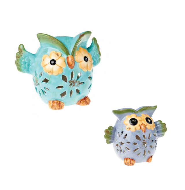 COLE & BRIGHT CERAMIC OWL WIND CHIME LIGHT L25025 ASS