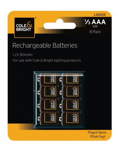 COLE & BRIGHT 1/3 AAA Ni-MH RECHARGEABLE BATTERIES L26202