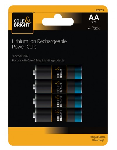 COLE & BRIGHT AA LITHIUM ION RECHARGEABLE POWER CELLS L26203<br />(TIJDELIJK UITVERKOCHT)