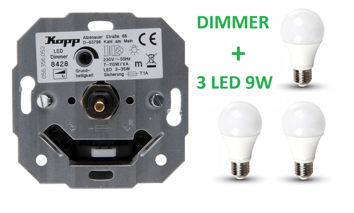 KOPP LEDDIMMER + 3 PREMIUM LED 9W