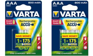 Varta AAA Oplaadbare Batterijen - 2 stuks - 800 mAh