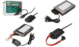 DIGITUS USB 2.0 - SATA en IDE   harde schijf adapter, zwart
