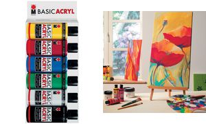 Marabu Acryl paint'BasicAcryl ',Starter Set 6 x 80 ml