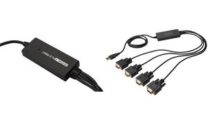 DIGITUS USB 2,0-4 x             RS232-adapterkabel, 1 Mbit /