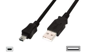 DIGITUS USB 2.0 mini-kabel, USB A - 5 pin mini-USB-B, 1.8m