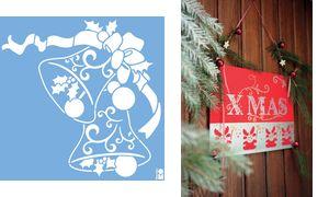 Marabu Kerstmis motief          stencil'Christmas Bells '
