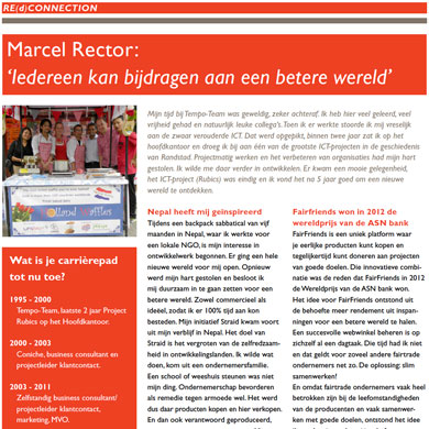 Interview Marcel Rector in personeelsblad Tempo-Team