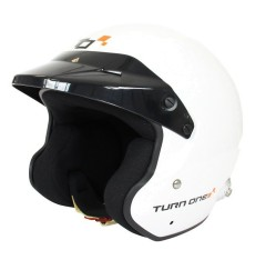 Turn One JET-RS open face helmet with HANS clips White FIA Schnell 2015