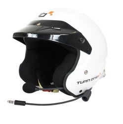Turn One JET-RS intercom open face helmet with HANS clips White FIA Schnell 2015
