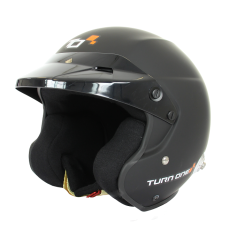 Turn One JET-RS open face helmet with HANS clips Black FIA Schnell 2015