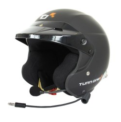 Turn One JET-RS intercom open face helmet with HANS clips Black FIA Schnell 2015