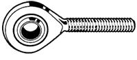FLURO STANGKOP (Uniball) M12 RECHTS MET BUITENDRAAD PTFE