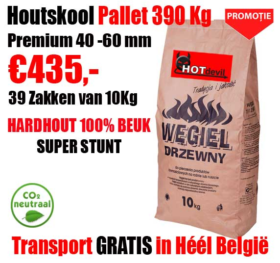 Pallet 390 Kg 100% BEUK Houtskool Beuk