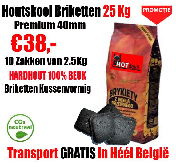 2,50 Kg 100% Beuk Houtskool Briketten