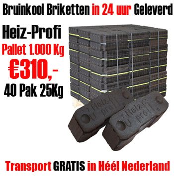 Pallet 1.000Kg Bundel Bruinkoolbriketten