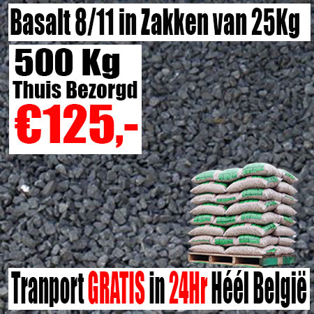 Zwarte Basalt 8-11mm zak 25Kg