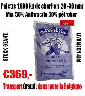 1 palette de charbon Super Mix  50% Ant. 50% Pet. 20-30 mm