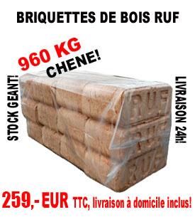 1 palette de briquettes de jour en sciure de bois.