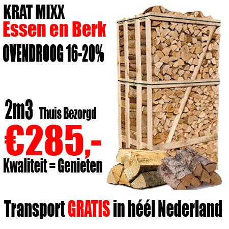 1 Pallet 2m3 Haardhout Mix Es en Berk ovendroog
