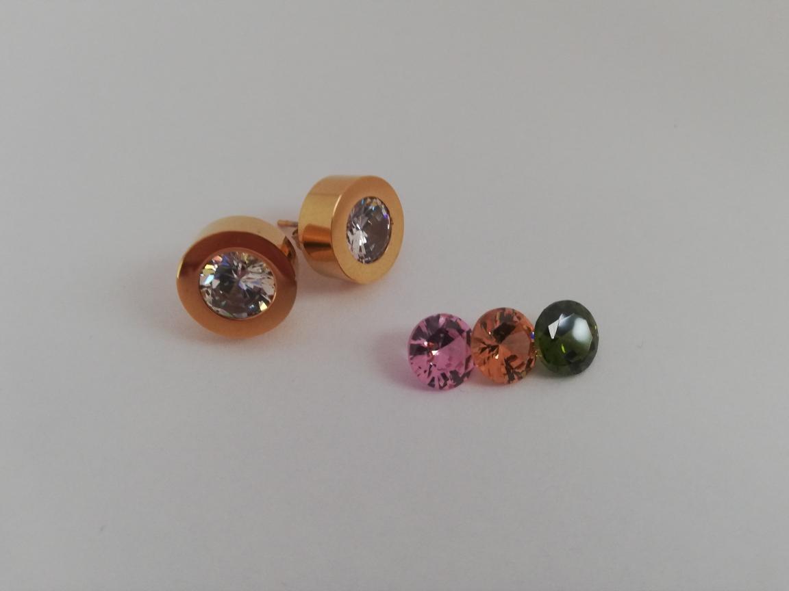 RVS basisoorbellen goud - incl. 4 kleuren tops