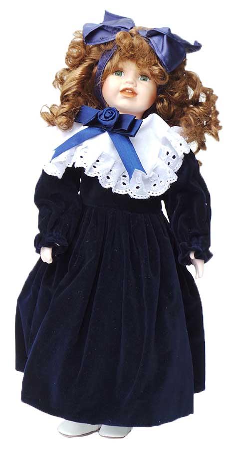 Porseleinen pop meisje blauw 42 X 13 centimeter
