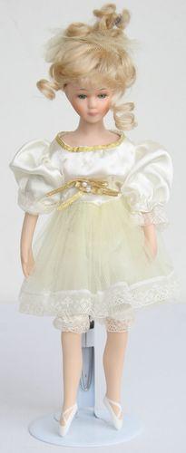 Porseleinen pop balerina geel 29 X 9 centimeter