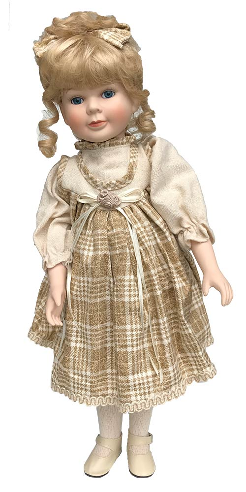 Porseleinen pop met geruite jurk 50 X 25 centimeter