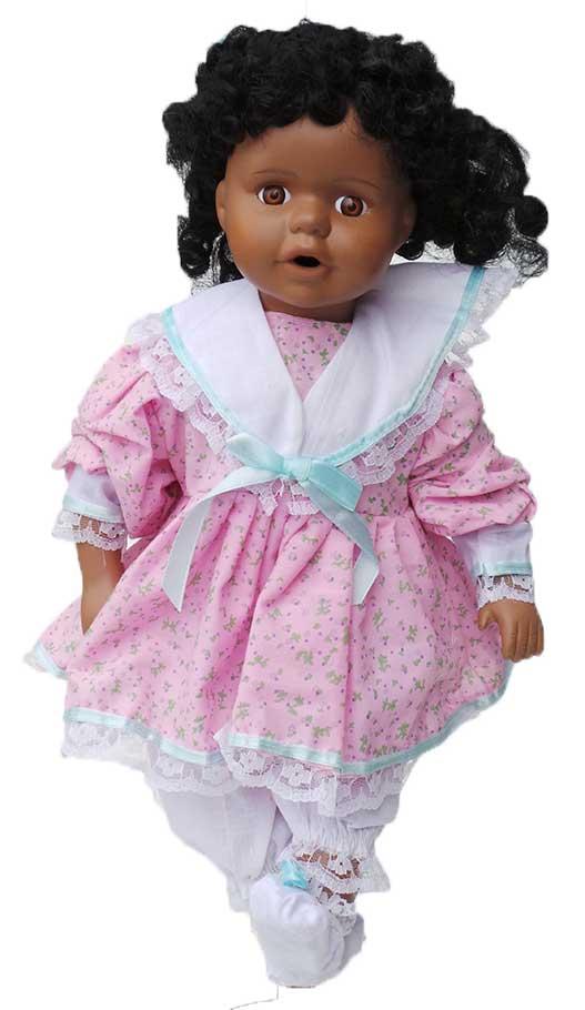 Porseleinen pop meisje bruin 38 X 14 centimeter