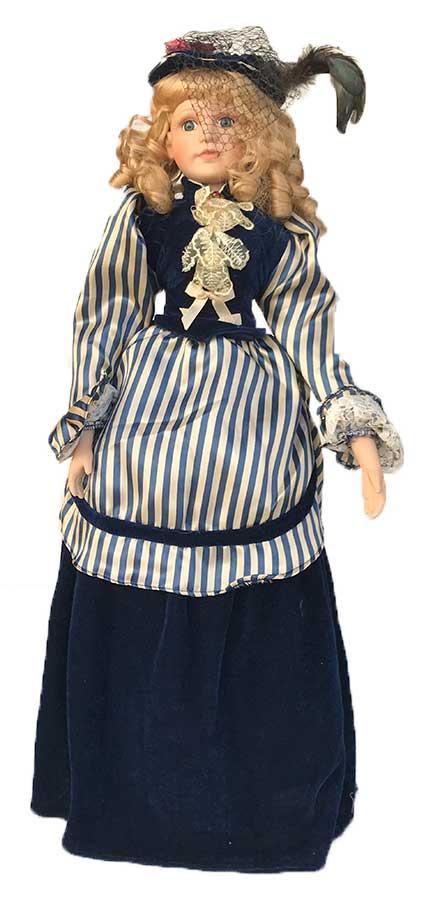 Porseleinen pop meisje blauw 61 X 21 centimeter
