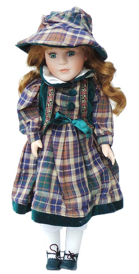 Porseleinen pop Meisje groen 42 X 12 centimeter