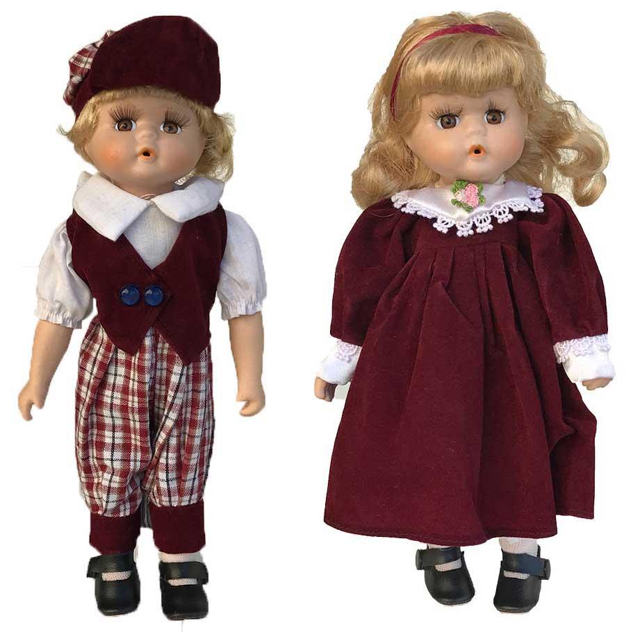 Porseleinen pop Boy + Girl pop rood 30 X 10 centimeter