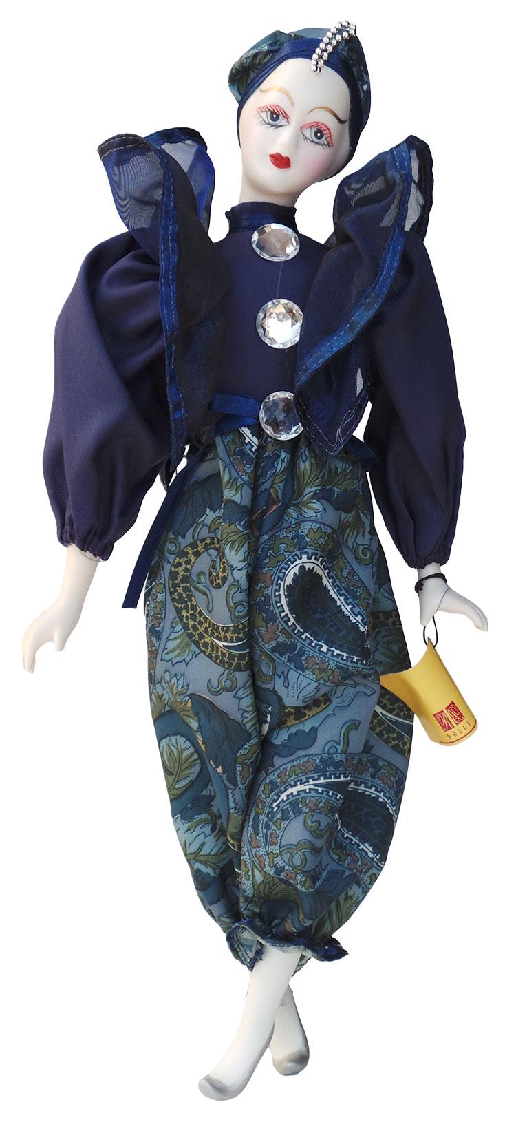 Porseleinen pop Pierrot Pop Blauw 42 X 15 centimeter