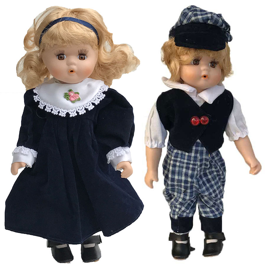Porseleinen pop boy + girl blauw 30 X 9 centimeter