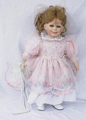 Porseleinen pop roze wit 29 X 45 centimeter