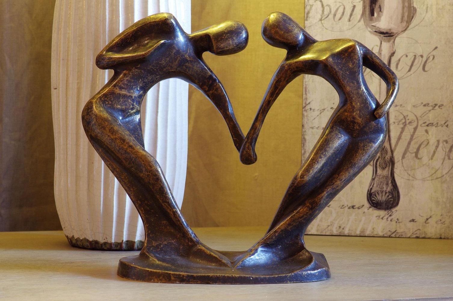 Bronzen beeld danspaar abstract