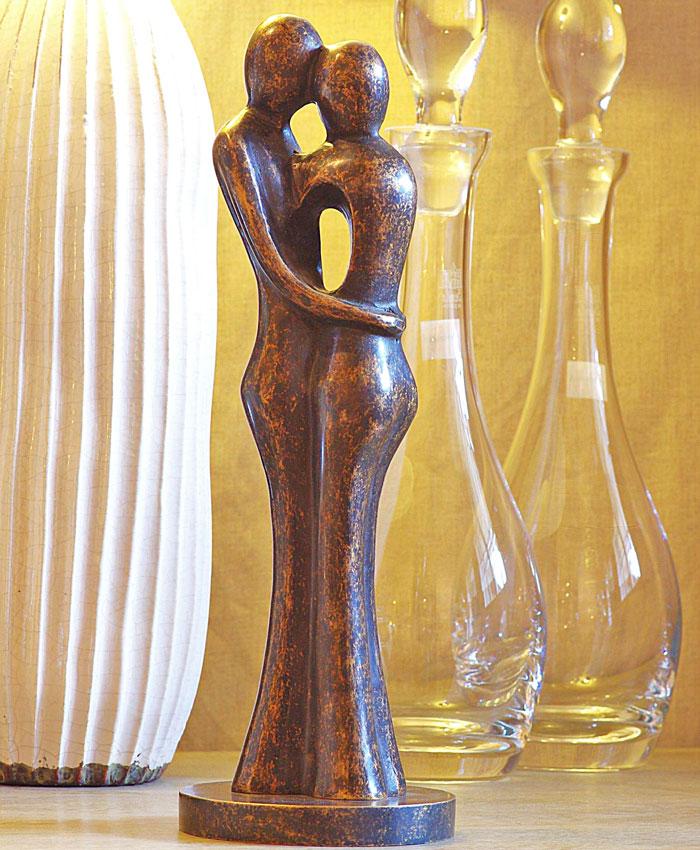 Bronzen beeld tuinbeeld abstract liefdespaar