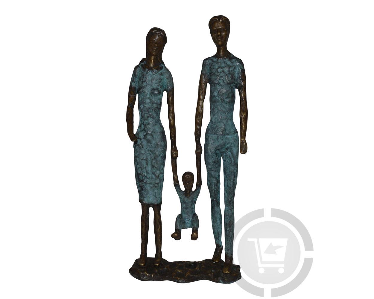 Bronzen beeld familie