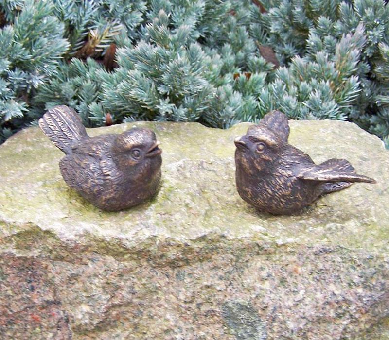 Bronzen beeld vogeltjes als set