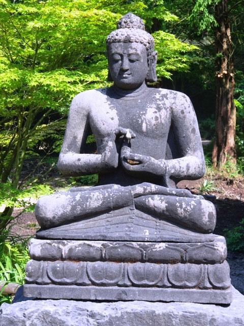 Tuinschilderij Boeddha zwart