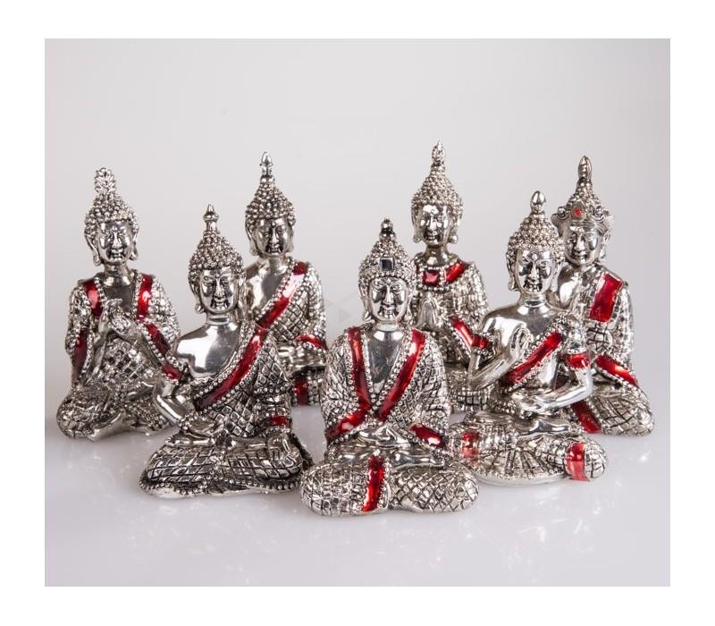 Set van 7 zilveren Boeddha's