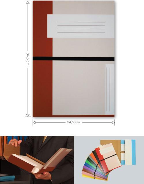 Trias file folder with elastic braid, brown