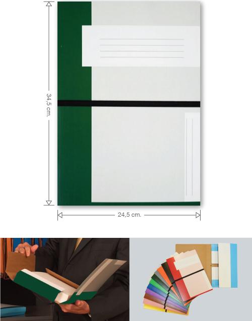 Trias file folder with elastic braid, dark green