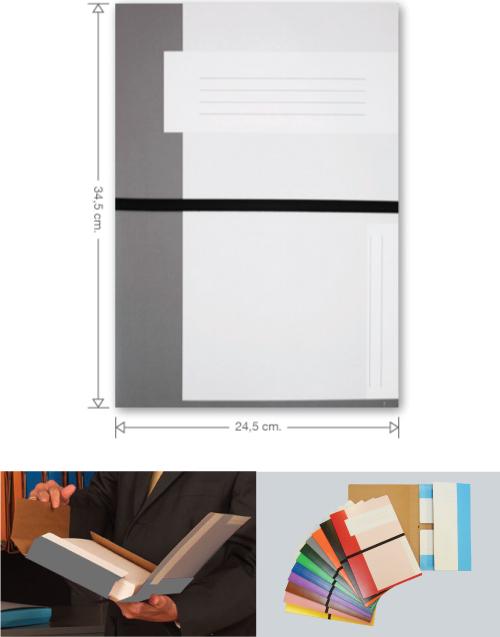 Trias file folder with elastic braid, grey