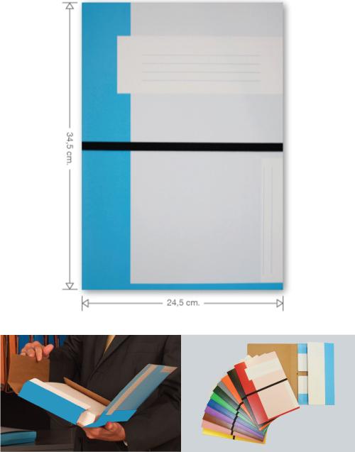 Trias file folder with elastic braid, lifgt blue