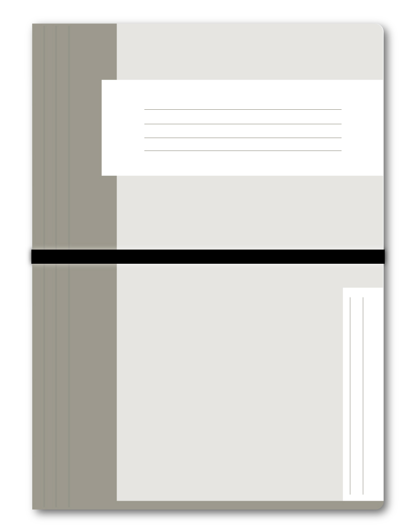 Trias dossiermap met elastiek, grijs