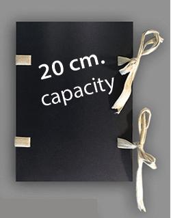 Black library folder. Capacity: 20 cm. Dustcovers: 4