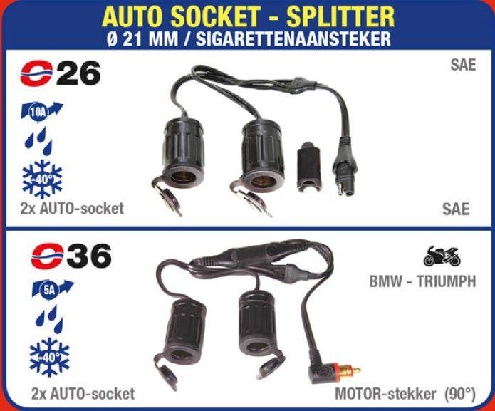 TECMATE OPTIMATE O-36 Y-SPLITTER MOTOR-CONTACT 90° NAAR 2 AUTO-CONTACTEN