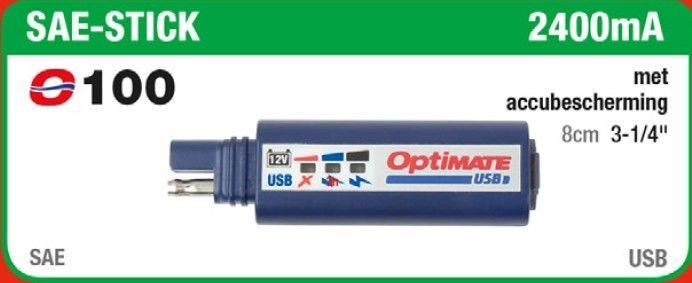 TECMATE OPTIMATE O-100 USB SAE-STICK MET ACCUBESCHERMING